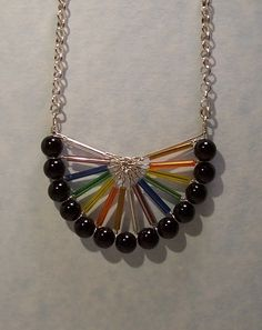 Sterling Silver Wire Wrap Necklace-Black Onyx and Multicolor Glass Beads-Handmade Jewelry