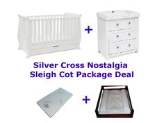 The Silver Cross Nostalgia Sleigh Cot Package Deal includes the Silver Cross Nostalgia Sleigh Cot Bed, Silver Cross Nostalgia Dresser with Changer and Babyhood Mattress and Change Mat. Sleigh Cot Bed, Baby Cots, Package Deal, Cot Bedding, Baby Furniture, Grubs, Our Baby, Mattress, Toddler Bed
