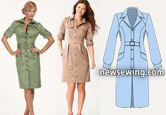 Pattern of office dress original cut