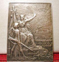 1900 RR French Art nouveau bronze medal Deauville Normandy Plaque Nude Boy Rifle