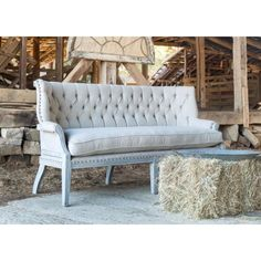 Our Park Hill Collection Tufted Louisiana Settee.Tufted upholstery on sturdy oak frame with washed finish and nail head detail. Country Furniture, Farmhouse Furniture, Outdoor Lounge Furniture, Outdoor Sofa, Dinning Tables And Chairs, Park Hill Collection, Purple Sofa, Linen Sofa, Wooden Sofa