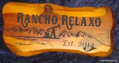 Rancho Relaxo Cedar Sign 2 foot Cabin Sign Oil Well, Mountains, and beach Boston Truckstyle Font www.cedarslabsigns.com