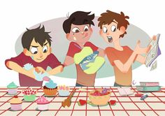 Wirt from Over the Garden Wall, Marco from Star vs the Forces of Evil, and Dipper from Gravity Falls. Baking cupcakes cuteness yes yes yes Best Crossover, Fandom Crossover, Gravity Falls Crossover, Starco, Art Gravity Falls, Geeks, Garden Falls, Desenhos Cartoon Network, Star Y Marco