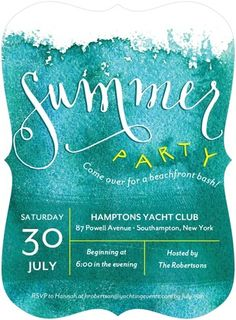 Don't forget to bring your swimsuit! Gather the gang and kickoff summer with a beach-themed bash to remember. Beachfront Bash - Party Invitations - Petite Alma - Wave - Blue : Front