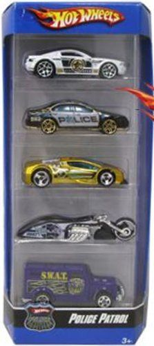 """5-Car Gift Pack:Hot Wheels: Police Patrol by Mattel. $27.77. Hot Wheels Gift 5-Pack: Police Patrol 1:64 Scale Collectable Die Cast Mattel. Take to the streets with five Police Patrol Vehicles. This Gift Pack includes five 1:64-scale die-cast vehicles with unifying themes, all in one package. It's an instant collection! Vehicles not for use with select Hot Wheels sets. Each vehicle measures 3"""" long."""