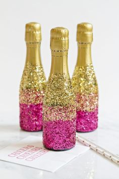 There is nothing like champagne to kick up a party to the next level. Quickly turn mini-champagne bottles into a great gift with glitter!