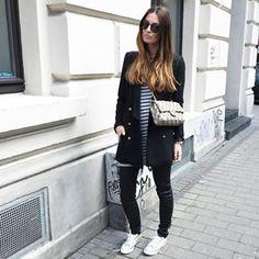 Lena Terlutter on Instagram #fashionista #fashion #style #chanel #bag #black #converse #stripes #ombre
