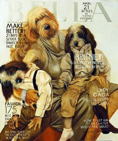 Brittney and Boys by Jane Wier Davidian- Celebrity Dogs.    Original paintings of magazine covers/famous people/etc. with dogs instead.
