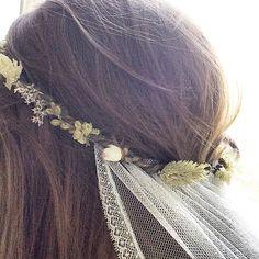 Bohemian bridal flower crown with veil by PelicanRoseBride
