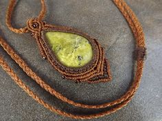 Macrame Necklace, Serpentine With Brown Thread, Macrame Pendant by neferknots on Etsy