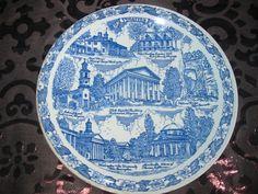 Virginia Old Dominion Souvenir Collector Plate Blue by Vernon Kilns Vintage