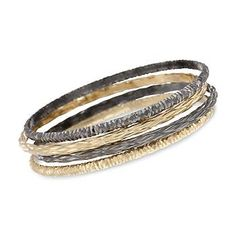Set of Four Bangle Bracelets In Sterling Two-Tone