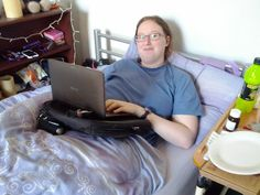 For my laptop in bed! http://dannilion.com/2012/01/disability-products-that-make-my-life-easier/