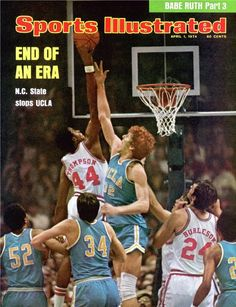 April 1974 - North Carolina State shocked the world in the 1974 NCAA Tournament, ending UCLA's reign of seven straight NCAA Championships. The Wolfpack defeated the Bruins in their Final Four matchup. I Love Basketball, Basketball Pictures, Basketball Legends, College Basketball, Basketball Players, Basketball Cards, Nba Players, Wolfpack Basketball, Basketball Jones