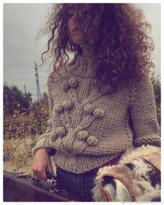 Knitted pullover |Купить Свитер женский вязаный из толстой пряжи. Бежевый свитер с деревом в интернет магазине на Ярмарке Мастеров