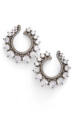Crystal Front Hoop Earrings