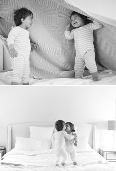 So cute! Sibling pictures photo brother sister pajamas pjs photography love family bed covers