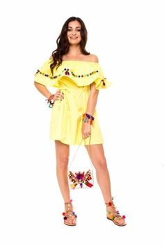POMPON VOLANT DRESS - YELLOW