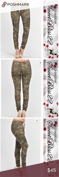 Camouflage Moto Jeggings These will sell out fast! Grab your size now! Just when you thought fashion could not get any better... It has! We have combined the moto style with the comfort of jeggings! Don't miss your opportunity to own a pair, or two!! Pants