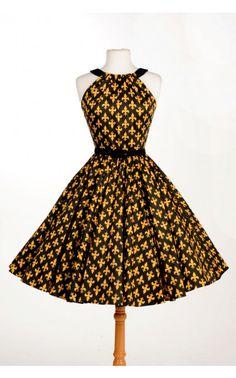 Harley Dress in Black and Gold Fleur De Lis Print ::sob::