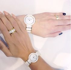 BERING; Ceramic Collection; White Ceramic Ladies Watch; Arctic Symphony Collection; Ladies Rings