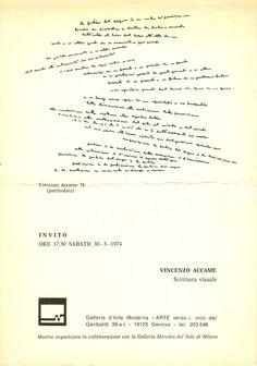 VINCENZO ACCAME:  SCRITTURA VISUALE - ARTE verso,   30-3-1974
