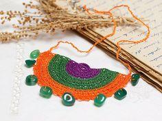Crochet Bohemian Chic Pendant Necklace in Orange by PinaraDesign, $46.00
