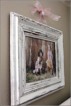 Picture Frame Makeover - hung on knob with ribbon