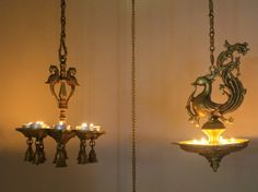 A hanging lamp set complete with scented tealights. Padmaja Rama's Festive Decor Accents at her Atlanta home