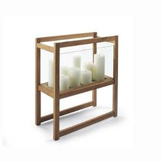 Zander Teak and Glass Candle Holder by Porta Forma