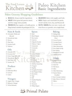 Paleo Tip: Purge your cupboards of all bad foods, and restock with whole, natural foods. This is a basic Paleo shopping list.