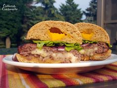 Juicy Lucy Burger Recipe Main Dishes, Lunch with ground beef, worcestershire sauce, garlic cloves, salt, pepper, cheese, burger buns, mustard, ketchup, purple onion, lettuce, burger toppings, avocado, tomatoes