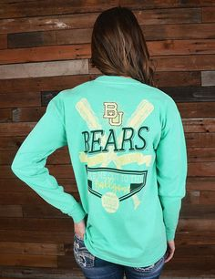 Cheer on your favorite Bears baseball team in this new long sleeve Take me out to the ballgame shirt. GO BAYLOR!