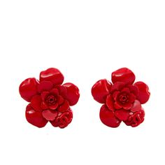 1980s Red Painted Metal Chanel Flower Clip-On Earrings | From a unique collection of vintage clip-on earrings at https://www.1stdibs.com/jewelry/earrings/clip-on-earrings/