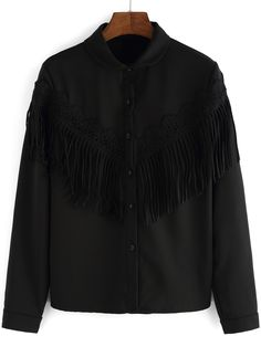 Black Lapel Long Sleeve Tassel Blouse 16.48