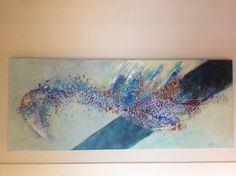 Painting that's  burnt  on ceveral places on purpose Mixed Media 100 x 40 Annemiek de Nijs