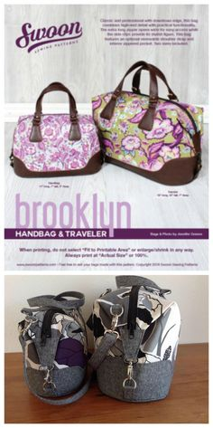 Here's Swoon's classic Brooklyn Handbag & Traveler bag sewing pattern. This bag features an optional removable shoulder strap and interior zippered pocket.