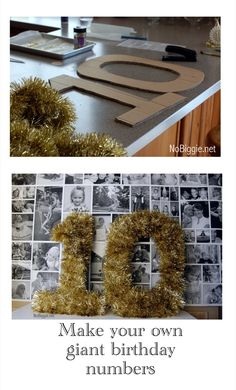 card party decorating ideas | You could also just spray paint the numbers and glitter them. That ...
