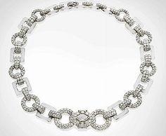 Cartier Art Deco Rock Crystal, Onyx and Diamond Necklace, c.1930.