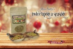 Miss Patty's™ Twice Upon a Season  Make an impression with family and friends - and treat yourself! - with exquisite flavor and beautiful, hand-carved Olivewood accessories from Miss Patty!  Each beautiful holiday set contains one 8-ounce bag of Miss Patty's Original Fusion with a rustic wooden spoon as well as an Olivewood double spice bowl with matching spice spoons. Each festive gift set arrives in a gift box with a gold bow. Visit us at www.misspattysspices for this gift set and more!