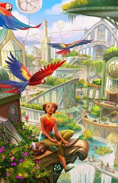Science Fiction Art: Solarpunk, by Rita Fei Fantasy Art Landscapes, Fantasy Landscape, Fantasy City, Fantasy World, Dc Vibe, Art Science Fiction, Character Art, Character Design, Character Concept
