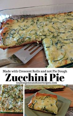 Zucchini Pie made with Crescent Rolls instead of a traditional Pie Crust. Zucchini Pie made with Crescent Rolls from Walking on Sunshine. A delicious recipe for zucchini pie using fresh zucchini and crescent rolls instead of a traditional pie crust. Crescent Rolls, Crescent Roll Recipes, Zucchini Zoodles, Zucchini Pie, Zucchini Spaghetti, Quiche Recipes, Pie Recipes, Vegan Recipes, Glass Baking Dish