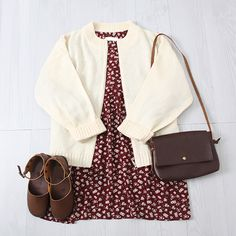 Korean fashion - red floral dress, beige cardigan, brown shoes and brown messenger bag