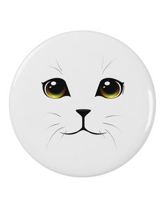 """TooLoud Yellow Amber-Eyed Cute Cat Face 2.25"""" Round Pin Button"""