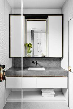 David Flack of Flack Studio - The Design Files Modern White Bathroom, Beautiful Bathrooms, Small Bathroom, Gold Bathroom, Compact Bathroom, Bathroom Goals, Bathroom Sets, Bad Inspiration, Bathroom Inspiration