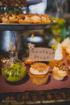 Bourbon pecan mini cupcakes at a country wedding - Cupcake DownSouth, Charleston, SC   photo credit Limegreen Photography