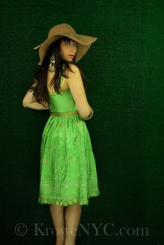 Green indian party dress for sale sz XS KroweNYC.com