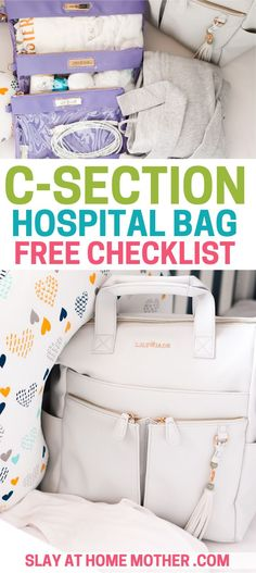 Free C-section Hospital Bag Free Checklist - Print off this free hospital bag checklist to get your hospital bag ready with essentials and must-haves for mom, dad, and baby! Hospital Bag Essentials, Hospital Bag Checklist, Hospital Bag C Section, Csection Hospital Bag, Scheduled C Section, Pregnancy Labor, Going Home Outfit, Thing 1, Baby Tips