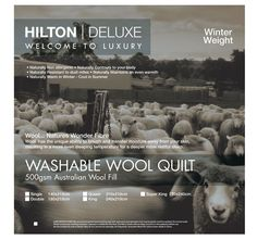 Washable Wool HILTON DELUXE  Wool has the unique ability to breathe and transfer moisture away from your skin, resulting in a more even sleeping temperature for a deeper more restful sleep.  Features: Australian wool fill Cotton cover 500GSM Winter weight Non allergenic Contours to your body Resistant to dust mites Maintains even warmth Warm in winter and cool in summer Cold gentle machine wash or hand wash with approved wool detergent Do not hot wash, tumble dry, iron or bleach May be dry… Dust Mites, Quilt Bedding, Contours, Your Skin, Bleach, Fill, Sleep, Iron, Warm