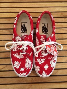 Vans #red#flowers#aloha